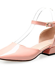 Women's Shoes Patent Leather Low Heel Mary / Comfort / Square Toe Heels Office & Career / Dress / Casual Black