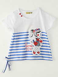 Girl's Going out Striped Tee,Polyester Summer White