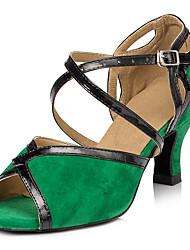Customizable Women's Dance Shoes Latin Leatherette Stiletto Heel Green