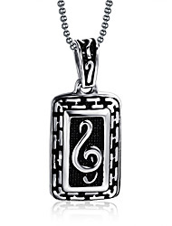 Men's Pendant Necklaces Pendants Stainless Steel Music Notes Punk Silver Jewelry Party Daily Casual 1pc
