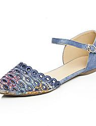 FemininoBico Fino / Tira no Tornozelo-Salto Baixo-Azul / Cinza / Amêndoa-Jeans / Materiais Customizados-Ar-Livre / Social / Casual