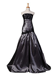 Formal Evening Dress Fit & Flare Strapless Floor-length Lace / Taffeta with Appliques / Lace / Side Draping