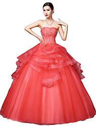 Ball Gown Strapless Floor Length Satin Tulle Stretch Satin Formal Evening Dress with Crystal Detailing Lace by MMHY
