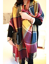 Long Fringed Scarves Warm Color Plaid Scarf Shawl
