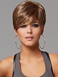 capless Mischungsfarbe extra kurz hochwertigen natürlichen glatte Haare synthetische Perücke Seite bang mit