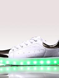 MasculinoConforto Light Up Shoes-Rasteiro-Preto Branco-Couro-Casual Para Esporte