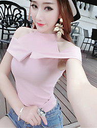 Women's Solid Pink / White Tanks,Stand Sleeveless