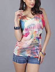 Damen Druck Sexy Ausgehen T-shirt,Rundhalsausschnitt Sommer Ärmellos Rosa Polyester Dünn