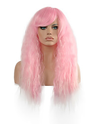 Natural Wave Long Length Pink Color Popular Synthetic Wig For Woman