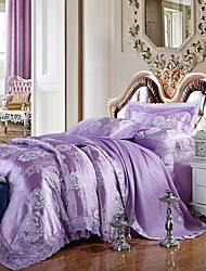 Lilac Queen King Size Bedding Set Luxury Silk Cotton Blend Lace Duvet Cover Sets Jacquard Pattern