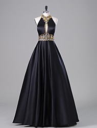 A-Line Halter Floor Length Satin Formal Evening Dress with Beading