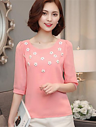 Women's Jacquard Pink / White T-shirt,Round Neck ½ Length Sleeve
