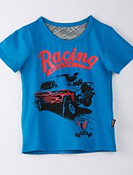 Girl's Print Tee,Cotton Summer Blue