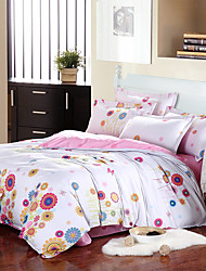 4PC Duvet Cover Set Polyester Floral Pattern