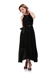 Women's Sexy Irregular Solid Color Sleeveless Chiffon Long Maxi Dress