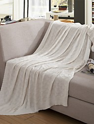 "Multicolor Knitted Solid Blanket Acrylic Fiber  71""*79"""
