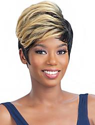 ombre di colore 1b / 27 parrucca piena per le donne parrucche economiche breve ricci sintetico falso capelli corti Parrucche naturali