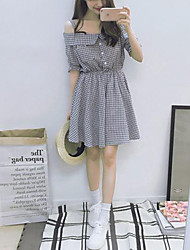 Women's Going out Simple A Line Dress,Check Boat Neck Mini ½ Length Sleeve Black Cotton Summer