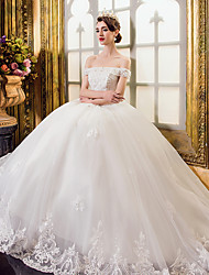 A-line Wedding Dress Floor-length Off-the-shoulder Tulle with Appliques / Beading / Crystal