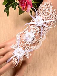 White Wrist Length Fingerless Glove Lace Bridal Gloves / Party/ Evening Gloves Ring Bracelet(1pc)