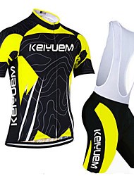 KEIYUEM® Cycling Jersey with Bib Shorts Unisex Short Sleeve BikeBreathable / Quick Dry / Dust Proof / Wearable / Stretch / Sweat-wicking