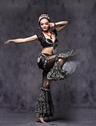 Dança do Ventre Roupa Mulheres Actuação Renda Viscose Metal Renda Frufru Pano 3 Peças Manga Curta Caído Blusa Calças Cinto