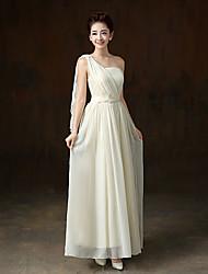 Ankle-length Chiffon / Satin Bridesmaid Dress A-line One Shoulder