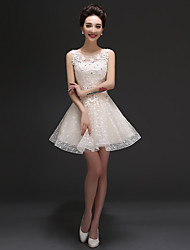 Short / Mini Tulle Bridesmaid Dress A-line Scoop with Ruffles