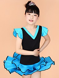 Latin Dance Outfits Children's Performance Milk Fiber Ruffles 2 Pieces Blue / Fuchsia / Red / Yellow