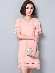 Damen Etuikleid Kleid-Lässig/Alltäglich / Übergröße Einfach Solide Rundhalsausschnitt Übers Knie Kurzarm Rosa / Schwarz Polyester Sommer