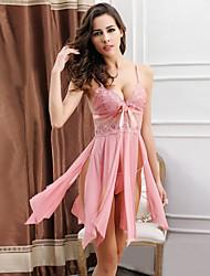 Damen Babydoll & slips Besonders sexy Nachtwäsche,Sexy Spitze Jacquard-Dünn Nylon Polyester Rosa Grau