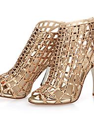 Women's Shoes Leather Stiletto Heel Heels / Peep Toe / Open Toe Sandals Party & Evening / Dress / Casual Black /