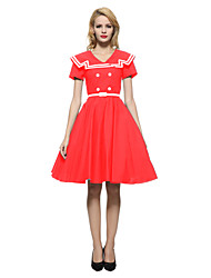 Women's Party/Cocktail Vintage Skater Dress,Color Block V Neck Knee-length Short Sleeve Blue / Red Cotton All Seasons