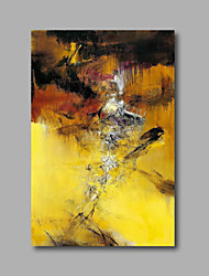 "Stretched (Ready to hang) Hand-Painted Oil Painting 36""x24"" Canvas Wall Art Modern Abstract Yellow Black"