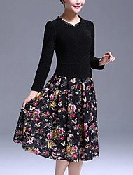 Women's Casual/Daily / Plus Size Simple Sheath Dress,Patchwork Round Neck Knee-length Long Sleeve Black Polyester Fall