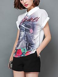 Women's Portrait Print White Shirt,Work / Casual Cute Shirt Collar Short Sleeve Fashion Loose Thin Polyester