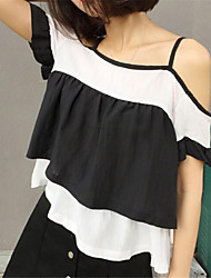 Damen Gestreift T-shirt - Polyester Kurzarm Gurt