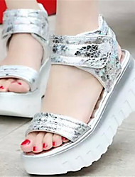 Women's Shoes Wedge Heel Open Toe Sandals Dress Silver