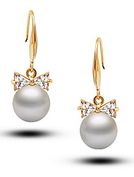 Flash Diamond Bow Pearl Earrings