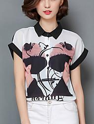 Women's Print Black Shirt,Work / Casual Cute Shirt Collar Short Sleeve Fashion Loose Thin Polyester