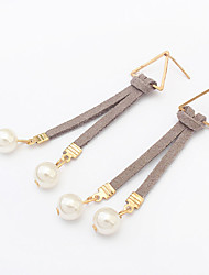 Drop Earrings Imitation Pearl Leather Fashion Imitation Pearl Black Gray Blue Khaki Jewelry Party Daily Casual 1 pair