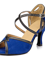 Customizable Women's Dance Shoes Latin Leatherette Stiletto Heel Blue