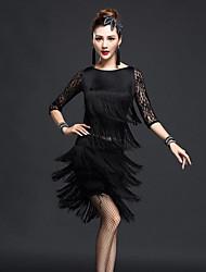Devemos roupas de dança latina saia superior de nylon de desempenho feminino