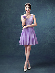 Knee-length Chiffon Bridesmaid Dress A-line V-neck with Lace