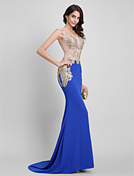 Formal Evening / Black Tie Gala Dress - Sexy / See Through / Beautiful Back Trumpet / Mermaid Square Sweep / Brush Train Jersey with