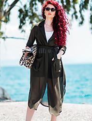 Women's Work Loose Dress,Solid Deep V / Ruff Collar Maxi Long Sleeve Black / Gray / Green / Yellow Cotton / Polyester Fall