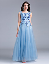Prom Formal Evening Dress - Elegant A-line Scoop Floor-length Lace Tulle with Flower(s) Lace Pearl Detailing Sash / Ribbon Sequins