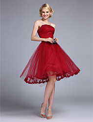 Cocktail Party Dress Ball Gown Bateau Short / Mini Tulle with Appliques