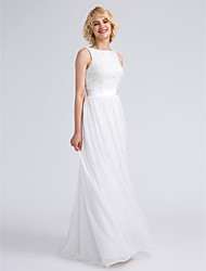 Lanting Bride® Floor-length Chiffon / Lace Bridesmaid Dress - Sheath / Column Bateau Plus Size / Petite with Lace / Sash / Ribbon