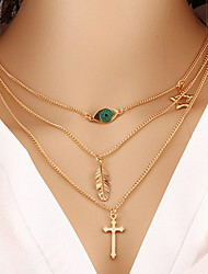 Women's Choker Necklaces Chain Necklaces Alloy Cross Fashion Golden Jewelry Daily Casual 1pc